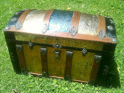 Antique Dome Top Steamer Travel Trunk ~ Alligator and Floral Tin Embossed