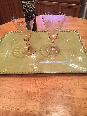 2 Art Deco PINK Etched Water/Wine STEM Goblet Central Glass #1422 Elegant Glass