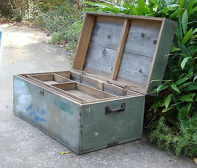 PINE TOOL BOX Carpenter Chest WOOD Vintage Trunk Storage END COFFEE TABLE Bench