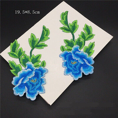 1Pair Flowers Embroidered Patches Iron on Clothes Applique DIY Decor Handmade