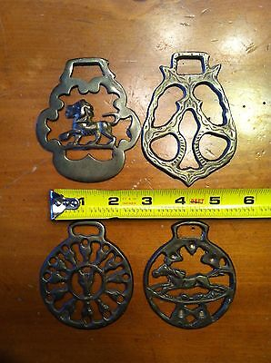 Lot 4 Horse Brass Tack Medallions Galloping Horse Lion Fox Owl Saddle Adornments