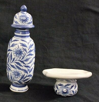 Blue & White Porcelain Jar with Wall Mount Stand