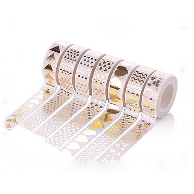 Foil Goild Tape DIY Sticker Note Masking Washi Paper Tape Scrapbooking White
