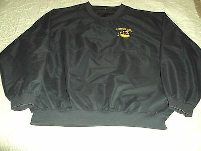 "John Deere ""J"" Series Crawler Pullover Windbreaker Jacket ""2XL"" Blue EXCELLENT"