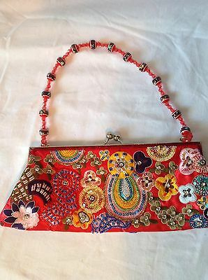 Red Beaded Sequine Handbag Clutch Party Evening Bag Hand Purse w/ beaded handle