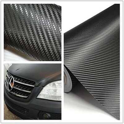 30*127cm Auto 3D Carbon Fiber Vinyl Car DIY Wrap Sheet Roll Film Sticker Decal