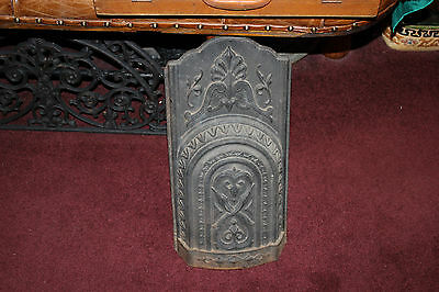 Antique Cast Iron Art Deco Fireplace Insert Front-Raised Scrolls-Architectural