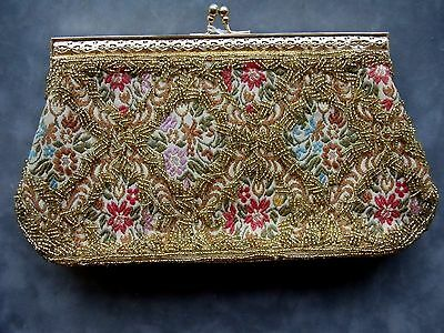 VINTAGE 90's TAPESTRY  FABRIC AND ROCAILLE GOLD TONE BEADED EVENING PURSE
