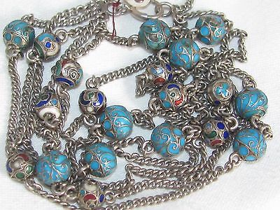 Antique Russian sterling silver cloisonne enamel BEAD 3 Strand NECKLACE