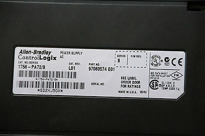 Allen Bradley 1756-PA72/B ControlLogix POWER SUPPLY AC