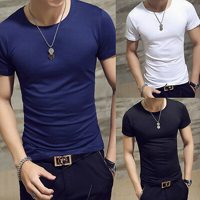 New Men's O Neck Tee Shirt Slim Fit Short Sleeve Solid Color Casual T-Shirt Tops
