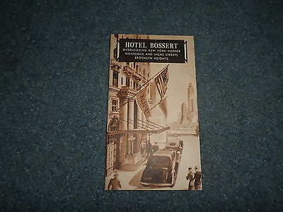 1930's/40's Hotel Bossert, Brooklyn Heights, Ny Advertisement Phamphlet