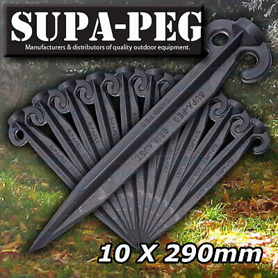 10x 300mm SUPA-PEG TENT SAND PEGS POLYPROPYLENE BLACK HEAVY DUTY TENT CAMPING