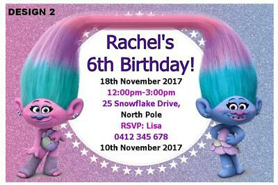 1 X TROLLS CHILDRENS BIRTHDAY PARTY PERSONALISED INVITATIONS FREE MAGNETS