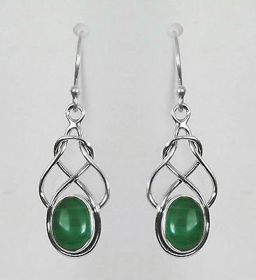 291 Malachite solid 925 sterling silver celtic knot earrings RRP $59.95