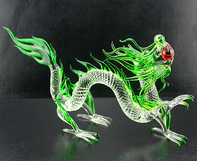 8 inches Dragon Figurine Animal hand made Blown Glass Crystal / R6112