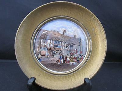Antique Framed Prattware Pot Lid Shakespeares House Henley St Stratford on Avon