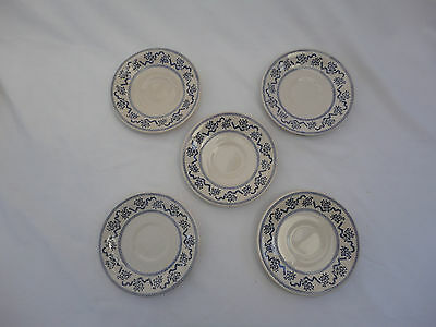 Vintage Laura Ashley Petite Fleur Blue Saucers Set of 5 Johnson Brothers C4