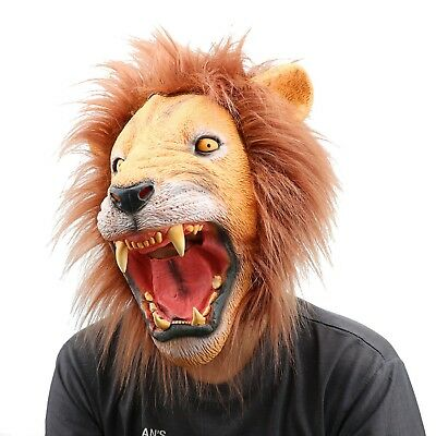 Monstleo  Latex Rubber Lion Head Mask Halloween Party Costume Decorations... New
