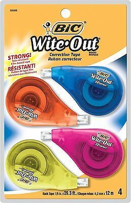 BIC Wite-Out Brand EZ Correct Correction Tape 4-Count 4 Count New
