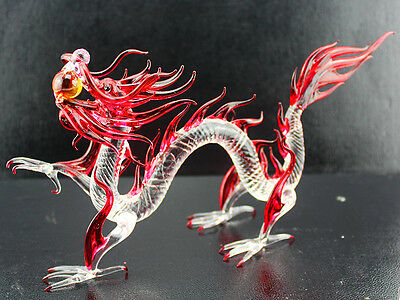 8 inches Dragon Figurine Animal hand made Blown Glass Crystal / R7079