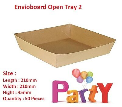 50x Cardboard Tray 2,  210x210x45mm Eviroboard Disposable, Food chips Trays