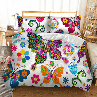 Butterfly Animal Doona Duvet Quilt Cover Set Single/Queen/King Size Bedding Set