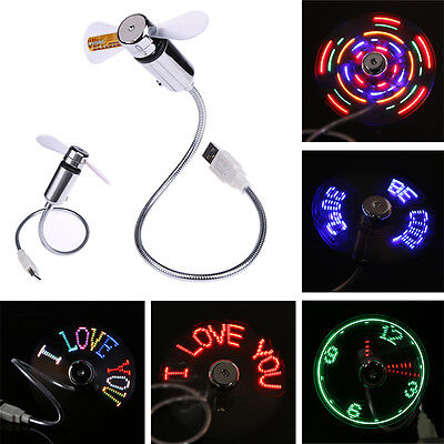 Flexible USB Powered Mini LED Display Fan Flash Message for PC Notebook Laptop