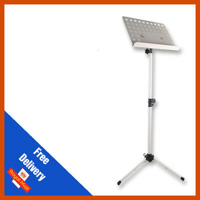 Heavy Duty Orchestral Lectern Conductor Sheet Music Stand Tripod Base White
