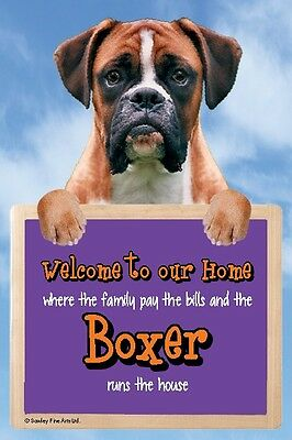 Boxer Dog 3D Welcome Sign