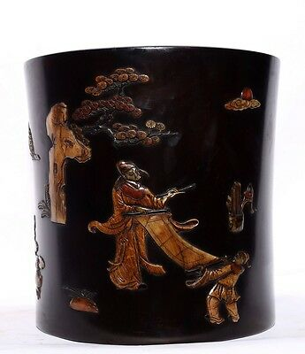 Large China Wonderful Antique Hand Carving Rosewood Brush Pot Collection US139