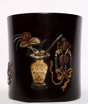 Very Rare Chinese Antique Hand Carving Rosewood Brush Pot Collection US145