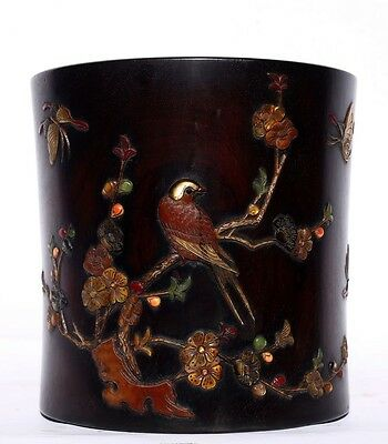 Excellent Chinese Antique Hand Carving Rosewood Brush Pot Marked QianLong US134