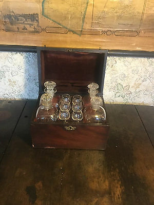 Antique Maritime Traveling Bar Decanter Tantalus Set Nautical Liquor Alcohol