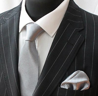 Tie Neck tie with Handkerchief Silver