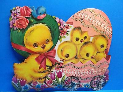Vintage Easter Mother Chick Pushing Baby Chick in Egg Buggy Diecut Decoration