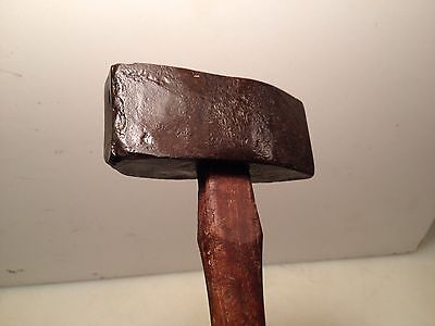 Antique Very Old Blacksmith Hammer Hand Made Forged Head w/Handle Very Old