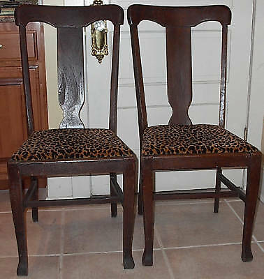 Antique Pair Oak Wood T Back Chairs Set of Side Chairs Dining Room Chair Table