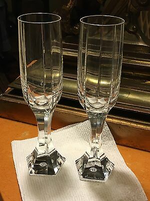 Pr Baccarat Mercure Tall Champagne Glasses Artist Signed