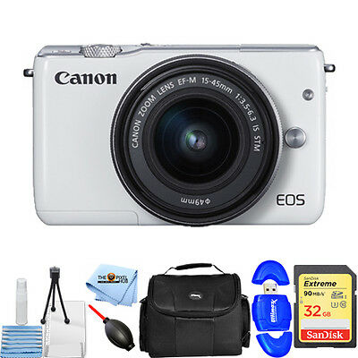 Canon EOS M10 Mirrorless Digital Camera W/ 15-45mm Lens (White) STARTER KIT NEW!