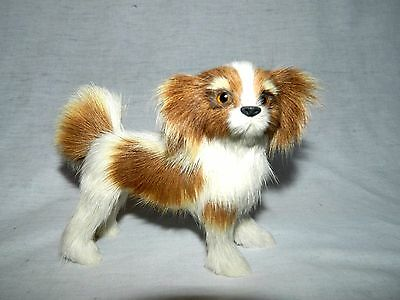 "5"" standing Cavalier King Charles Spaniel Puppy Dog Figure Real Fur figurine"