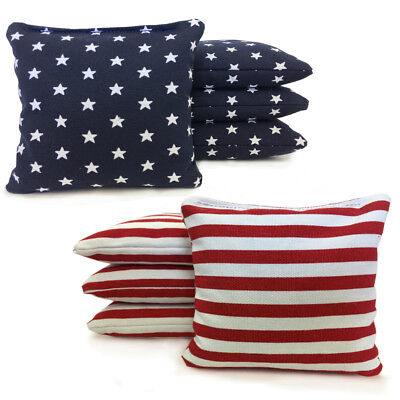 Stars and Stripes - 8 Cornhole bags American Flag Bags! W/ Free Drawstring Tote!