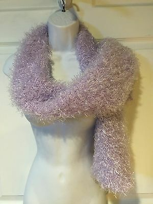 Girls Boa Scarf Purple Wrap Fluffy Double knitted Soft 56""
