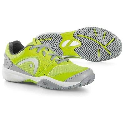 Head Sprint Evo Junior Tennis All Court Shoes Trainers - Grey / Neon Green