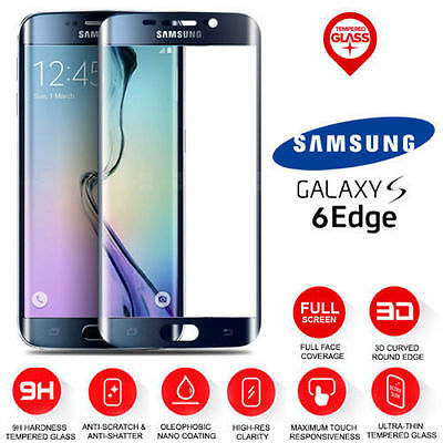 100% Genuine Tempered Glass Screen Protector For Samsung Galaxy S6 Edge Black