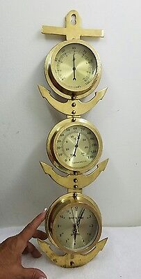 Large Brass Ship Anchor Clock/Barometer/Thermometer wall Set