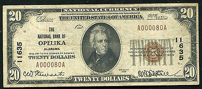 1929 $20 The National Bank Of Opelika, Al National Currency Ch. #11635