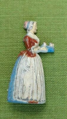 Antique BAKER'S CHOCOLATE GIRL METAL PAINTED ADVERTISING PENCIL SHARPENER FIGURE