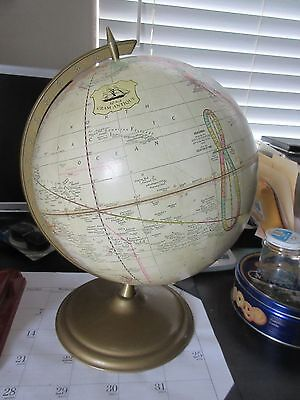 Vintage late 1970's Cram's 12 Inch Tan Globe on Gold Metal Oval Base