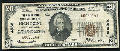 1929 $20 The Commercial Nb Of High Point, Nc National Currency Ch. #4568